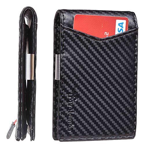 Travelambo Mens RFID Blocking Front Pocket Minimalist Slim Genuine Leather Wallet Pull Tab Money Clip (carbon fiber texture leather black)