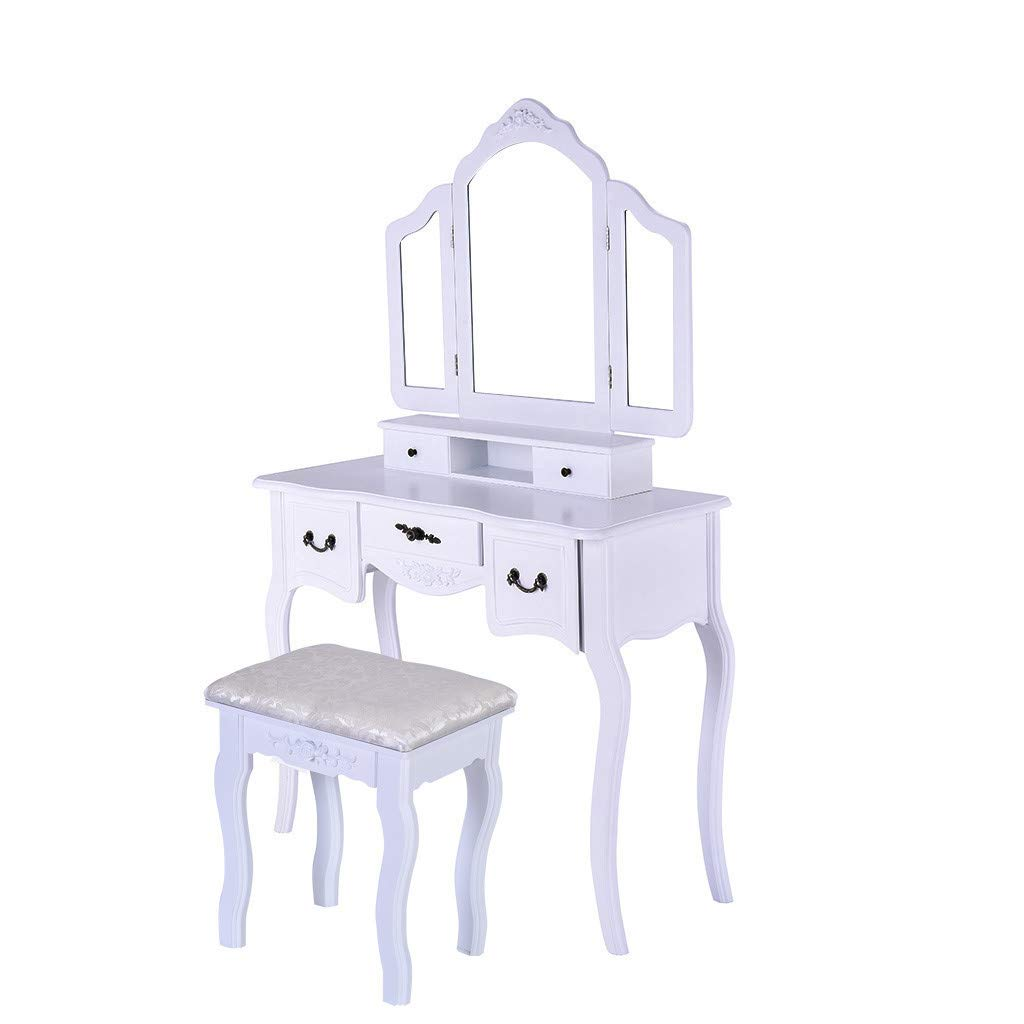 Vanity Table Set with Large Frameless Mirror, Makeup Dressing Table Set for Bedroom, Bathroom, 5 Drawers and 1 Removable Storage Box, Cushioned Stool, White