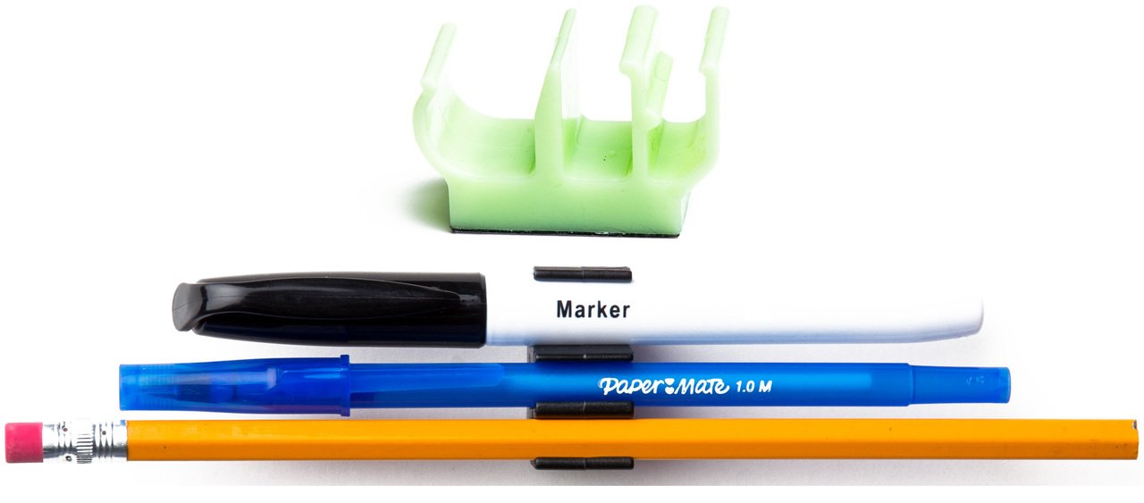 (10 pk) Glow-in-the-Dark colored pencil pen and marker holder adhesive clip - Best mount organizer to stick on the wall, tablet, locker, binder - Great for student, kids, school supplies, organization