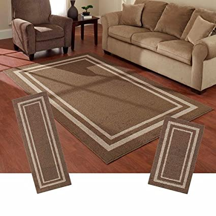 Superb Mainstays Frame Border 3 Piece Area Rug Set (Brown)