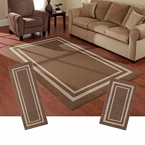 Mainstays Frame Border 3 Piece Area Rug Set (Brown)