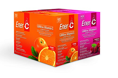 Ener-C 60 Count | Orange and Raspberry | Effervescent Multivitamin Non-GMO Gluten-Free Vegan Powdered Fruit Juice Drink Mix for Immune Support and Hydration with Electrolytes
