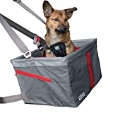 Kurgo Dog Car Seat | Pet Booster Seat for Cars | Includes Seat Belt Tether for Dogs & Pets | Holdsup to 30Lbs | Charcoal Grey/Chili Red