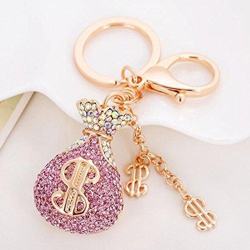 Jzcky Shzrp Fortune Bag Crystal Rhinestone Keychain Key Chain Sparkling Key Ring Charm Purse Pendant Handbag Bag Decoration Holiday Gift(Pink)