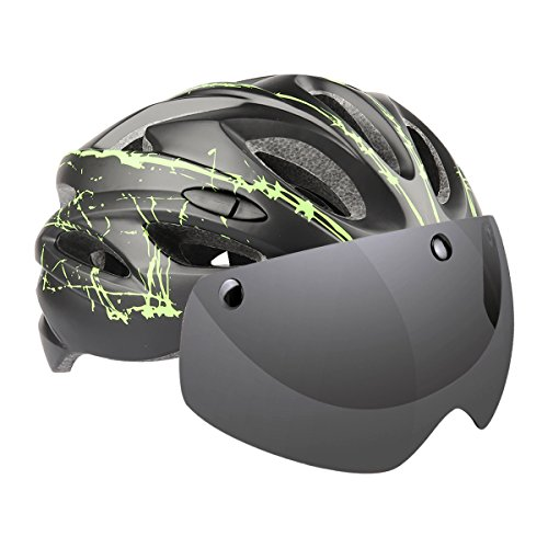 Ranger5 Cycling Helmet with Visor, Adult Bike Helmets with Removable Magnetic Shield, Detachable Liner & Dust Resistant Cover, Lightweight, Adjustable Size for Road Cycling, Outdoor – Black & Green