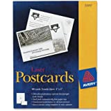 "Avery 5389 Laser Postcards, Perforated, 4""x6"", 100/BX, White"