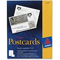 Postcards for Inkjet Printers, 4-1/4 x 5-1/2, Matte White, 4/Sheet, 200/Box