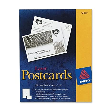 Amazon.com : Avery 5389 Laser Postcards, Perforated, 4\