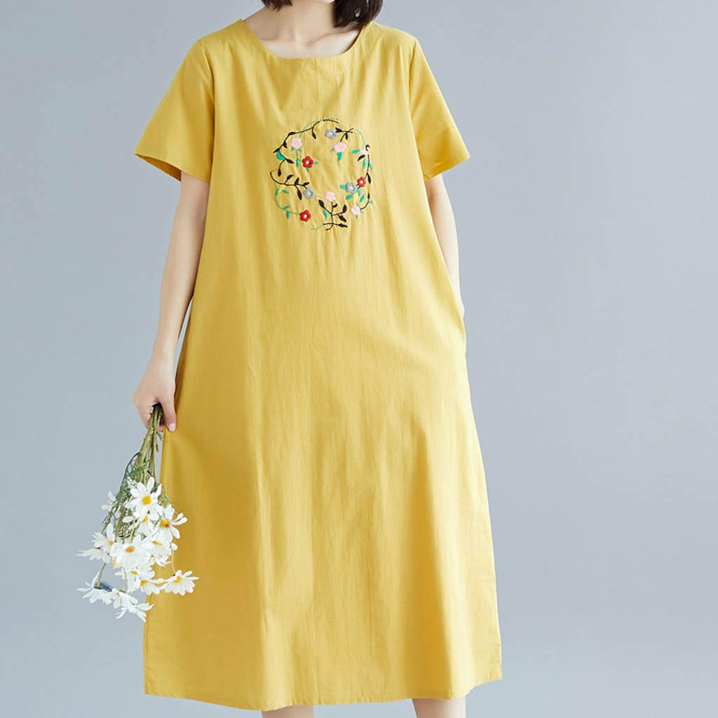 Yellsong Loose Embroidery Dress,Retro Casual Embroidery Loose Cotton Linen O Neck Sleeve Dress Women Plus Size Dresses Short Sleeve Cold Shoulder Casual T-Shirt Swing Dress with Pockets by Yellsong-Clothing (Image #2)