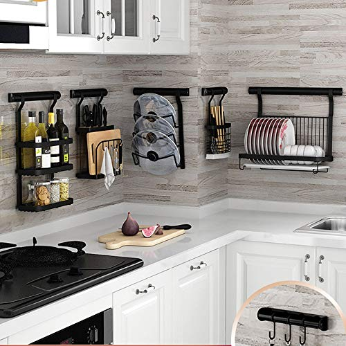HUO Punch-Free Kitchen Racks Wall-Mounted Folding Dish Rack Knife Holder Seasoning Storage Rack Combination Multifunction (Color : D) by Kitchen shelf (Image #3)