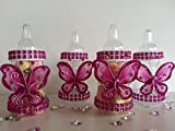 12 Magenta Fillable Butterfly Bottles Baby Shower Favors Prizes Girl Decorations