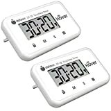 The Miracle Hover Kitchen Timer - Touchless Digital Countdown Timer, Hands-Free Control, Set of 2 White