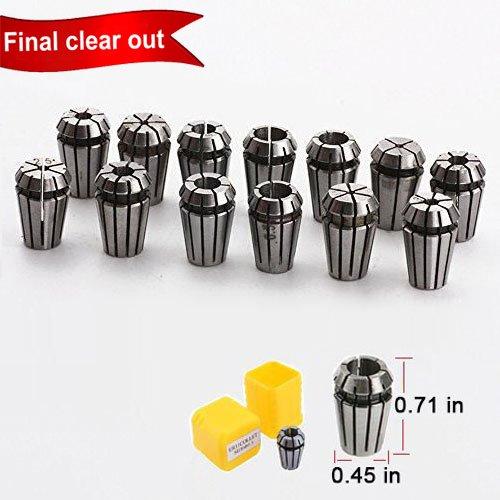 ER11 Collet Set, 13 PCS ER11 Collet Chuck 1-7MM ER-11 Spring Collet for CNC Engraving Machine & Milling Lathe Tool Holder By Beauty Star