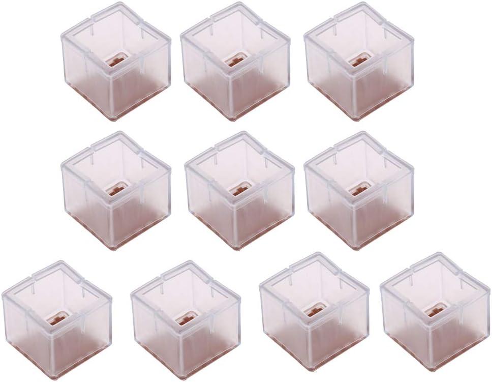 Baoblaze 10x Pieds De Chaise Bouchons Meubles Pieds Protecteurs Protecteurs De Sol En Silicone Transparent Jambe Carr/ée 42-48mm