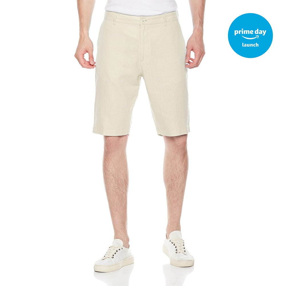 Isle Bay Linens Men's Easy Care Solid Flat-Front Short White 44