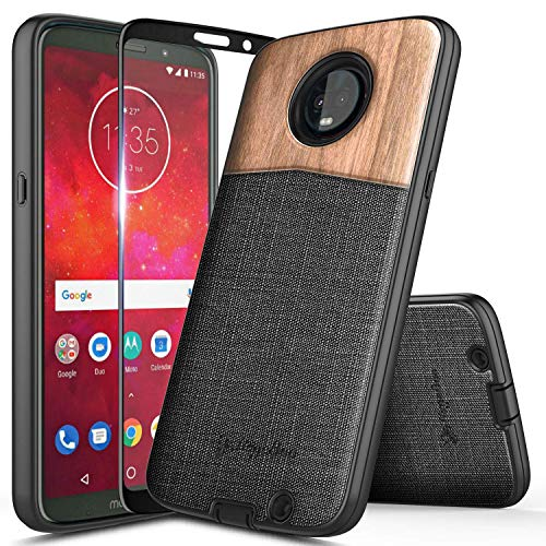 Moto Z3 Play Case, Moto Z3 Case with Tempered Glass Screen Protector (Full Coverage), NageBee [Natural Wood] Snap-On Premium Canvas Fabrics Heavy Duty Armor Shockproof Hybrid Rugged Durable Case -Wood (Cheap Wood Durable)