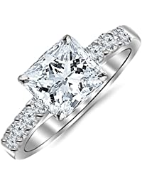 2 Carat GIA Certified Princess Cut Classic Prong Set Diamond Engagement Ring (I-J Color VS1-VS2 Clarity Center Stones)