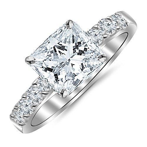 2 Carat GIA Certified Princess Cut Classic Prong Set Diamond Engagement Ring with a 1 Ct I-J VVS1-VVS2 Center