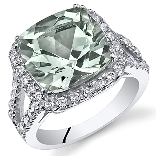 Peora 4.75 Carats Cushion Cut Green Amethyst Ring Sterling Silver Size (Green Quartz Ring)