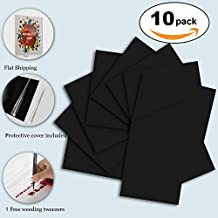 """Black Heat Transfer Vinyl HTV Bundle 30x25cm of 10 Sheets fro T-shirts, 12x10"""" Iron On Vinyl Sheets for Silhouette Cameo-Bouns 1 Free Weeding Tweezers"""