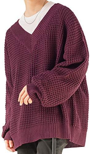 ニット メンズ セーター オーバーサイズ Vネック 長袖 ロング