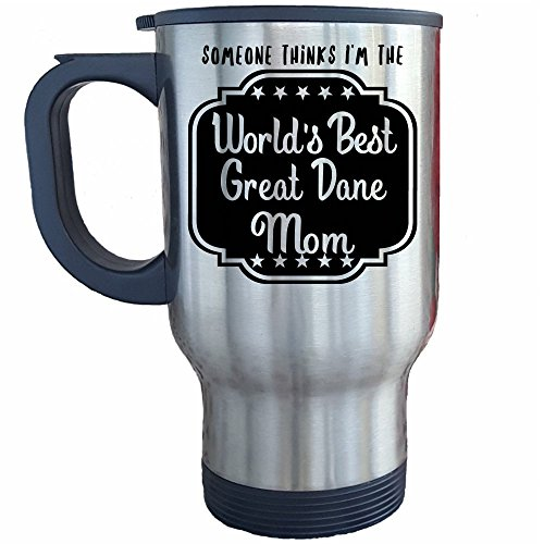 Great Dane Mom Travel Mug, World's Best Mom Gear, Great Dog Lovers Merchandise Gifts, Travel Coffee Cup