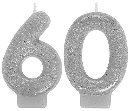 Amscan 170289 Sparkling Celebration 60 Numeral Candles, 3