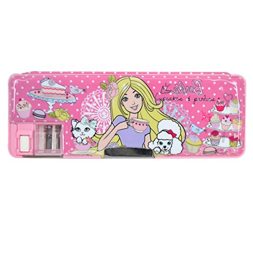 Queena Plastic Cartoon Pencil Case Multi-Function Large Capacity Double-Deck Pencil Sharpener Stationery Case for Girls in Rose Red