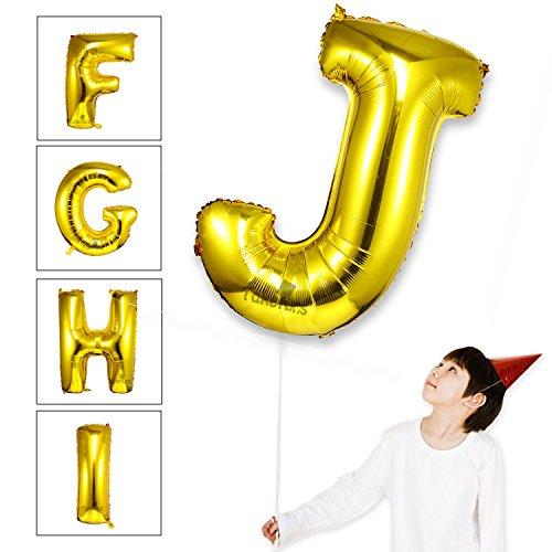 Takefuns Gold Letter Balloons 40 inch Large Mylar Foil Helium Balloons Jumbo Alphabet Balloons Letter for Birthday Bridal Shower Anniversary Decorations,Letter J]()