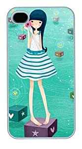 IMARTCASE iPhone 4S Case, Cute Cartoon Girl Polycarbonate Back Case for Apple iPhone 4S/5 White