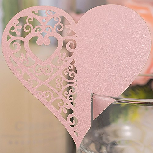 Premium 50pcs Wedding Place Table Name Cards 3D Laser Cut Love Heart Seating Card Party Wine Glass Cup Decoration for Bridal Baby Shower Engagement Birthday Tea Party Graduation Favor (Pink) (Party Tea Holders Place Card)