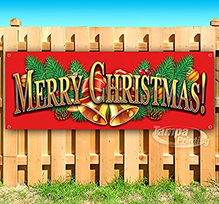 Merry Christmas 13 oz Heavy Duty Vinyl Banner Sign with Metal Grommets New Advertising Many Sizes Available Store Flag,