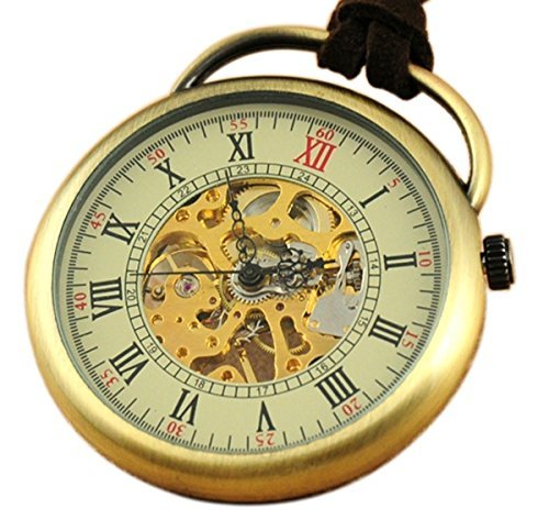 VIGOROSO Men's Copper Brass Skeleton Hand Wind Steampunk Leather Chain Mechanical Pocket Watch