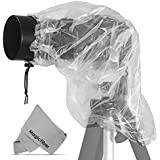 """(2 Pack) Raincover Camera Protector for Nikon, Canon, Sony, Olympus DSLRs with Lenses up to 7"""" Diameter, 18"""" Long + MagicFiber Microfiber Lens Cleaning Cloth"""