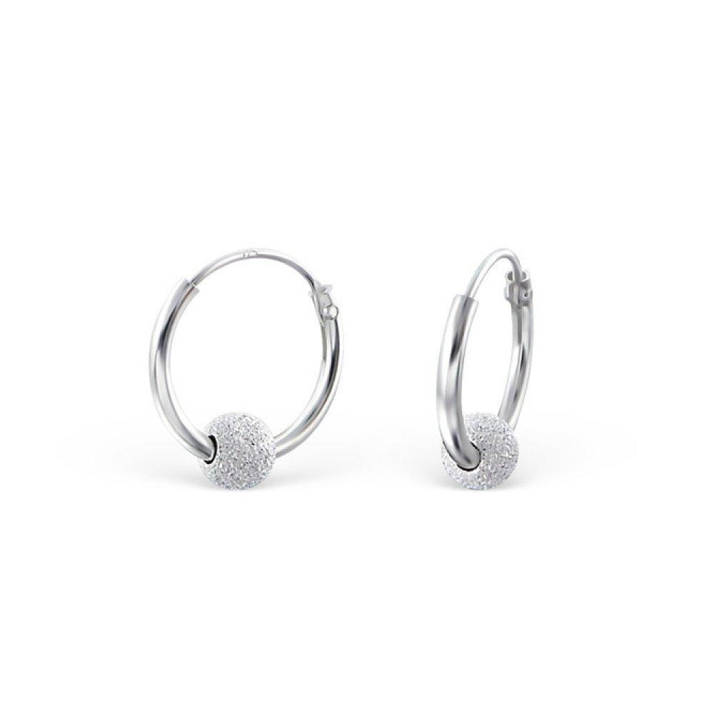 Sterling Silver Beaded 12mm Hoop Earrings