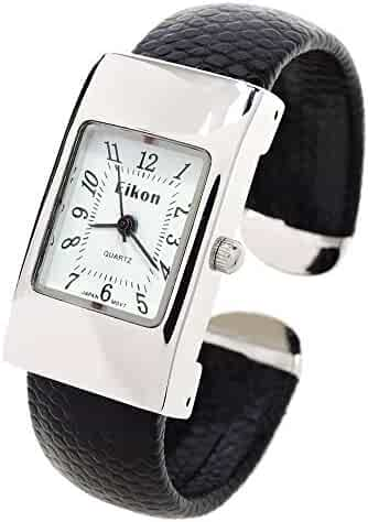 FTW Black Silver Leather-Like Band Rectangle Case Easy to Read Small Size Women's Bangle Cuff Watch