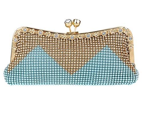 Ladies Prom Bag Clutch Diamante Handbag Gift Bridal Wedding For Clubs Glitter Purse Shoulder Evening Blue Beaded Women Bag Party 56aYqwx6
