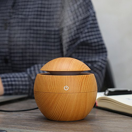 Mini Humidifier Wooden LED Ultrasonic Mist Maker 130ml Essen