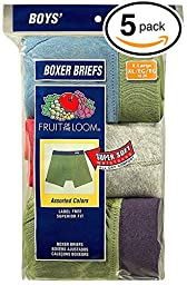 Fruit of the Loom 5Pack Boys Assorted ComfortSoft Boxer Briefs Underwear M
