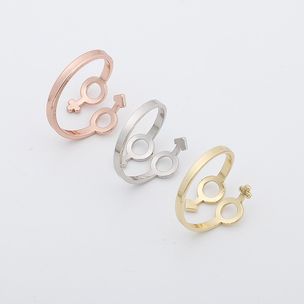 TUSHUO 3 Colors Plating Simple Gender Symbols Ring Male and Female Symbols Open Adjustable Ring