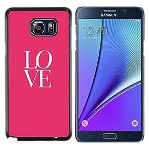 Amor Texto Rosa Blanco de San Valentín del beso- Metal de aluminio y de plástico duro Caja del teléfono - Negro - Samsung Galaxy Note5 / N920