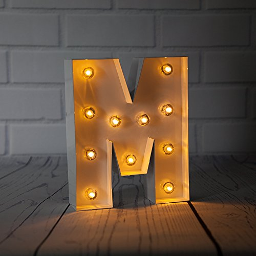 Fantado White Marquee Light Letter 'M' LED Metal Sign (8 Inch, Battery Operated w/Timer) by PaperLanternStore
