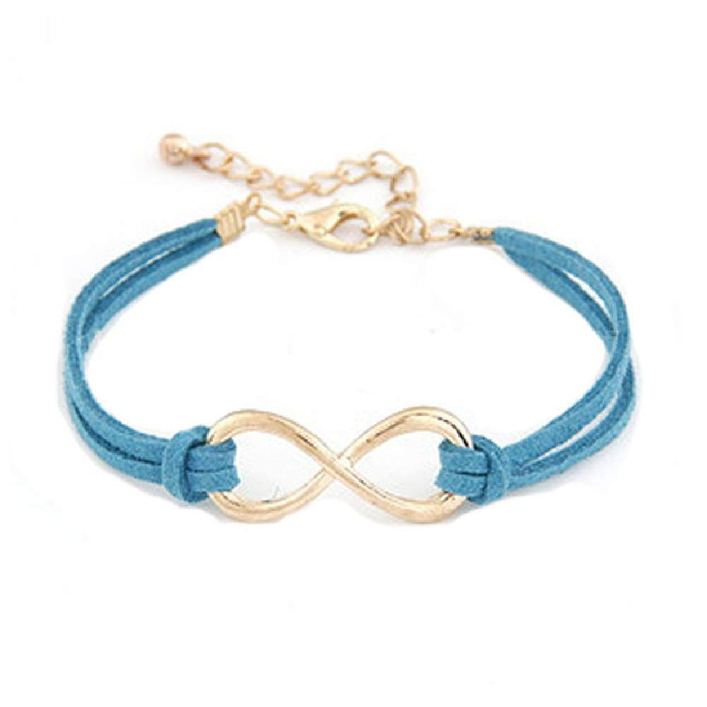 Connia Bracelet New Women Multilayer Bracelet Wrap Leather Infinity Symbol Wristband Torque for Gift (Blue)