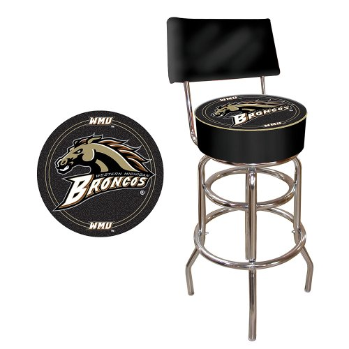 NCAA Western Michigan University Padded Swivel Bar Stool with Back by Trademark Gameroom