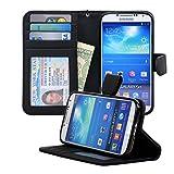 Navor Samsung Galaxy S4 Folio Wallet Leather Case for Cards & Money Pockets, ID Window (Black)