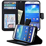 Navor Samsung Galaxy S4 Folio Wallet Leather Case for Cards & Money Pockets, ID Window (Black)