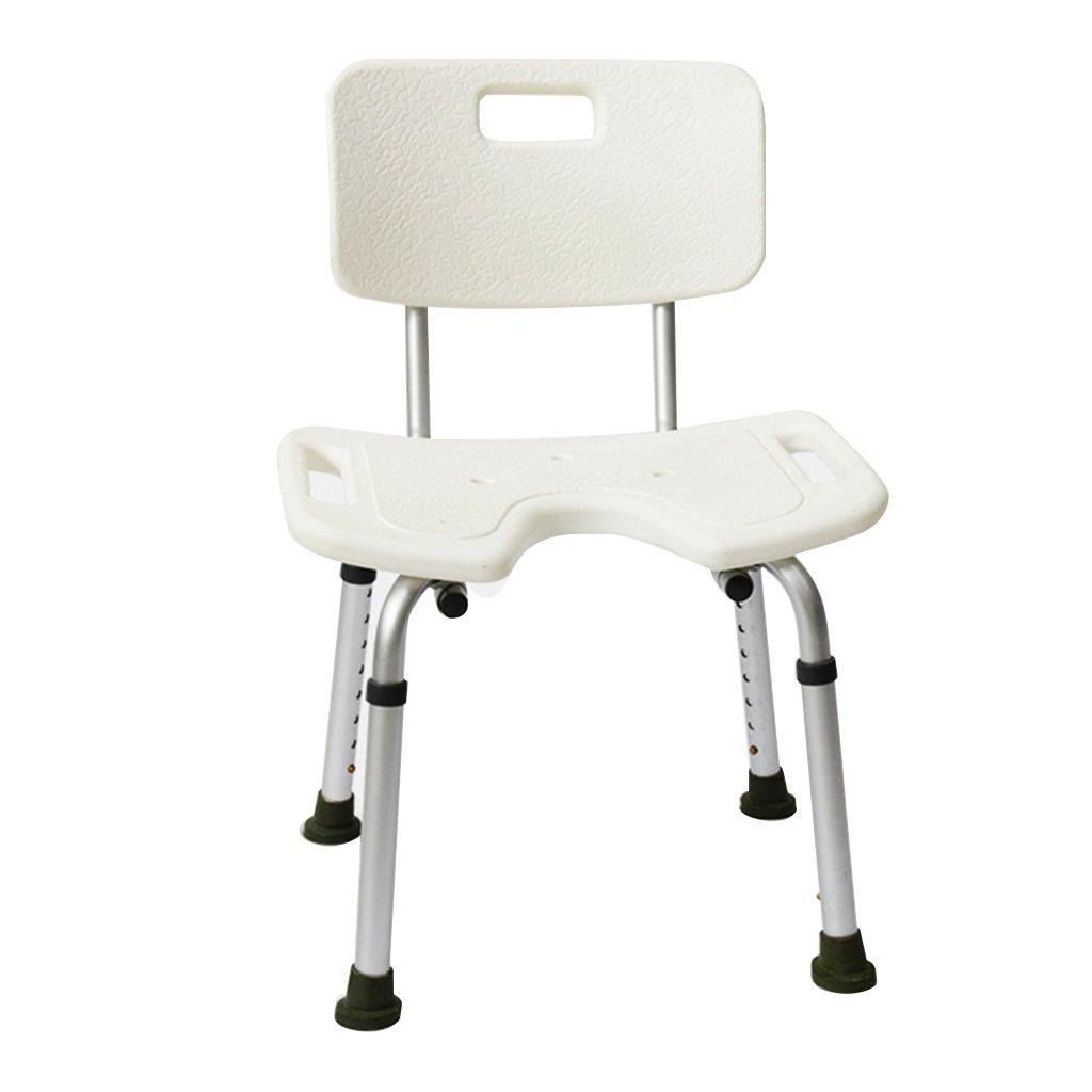 高齢者U型トイレシートチェアシャワーチェアアルミバススツールホワイト B07DFF5S9K