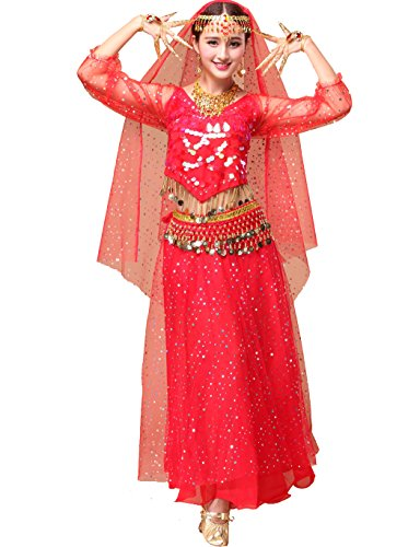 Astage Women`s Professional Belly Dance Costume,Long Sleeve Tops With Skirt Red ,All Accessories from Astage