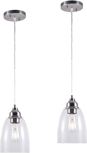 YaoKuem Pendant Lighting Fixture, Hanging Lights with E26 Medium Base, Metal Housing with Clear Glass, Bulbs not Included, 2-Pack Nickel Finish