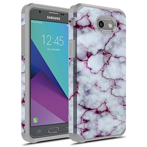 J3 Emerge Case, Galaxy J3 Prime Case, Galaxy Amp Prime 2 / Sol 2 / J3 Mission / J3 Eclipse / J3 2017 / J3 Luna Pro Case, Rosebono Hybrid Shockproof Graphic Fashion Case for SM-J327 (Purple Marble) -